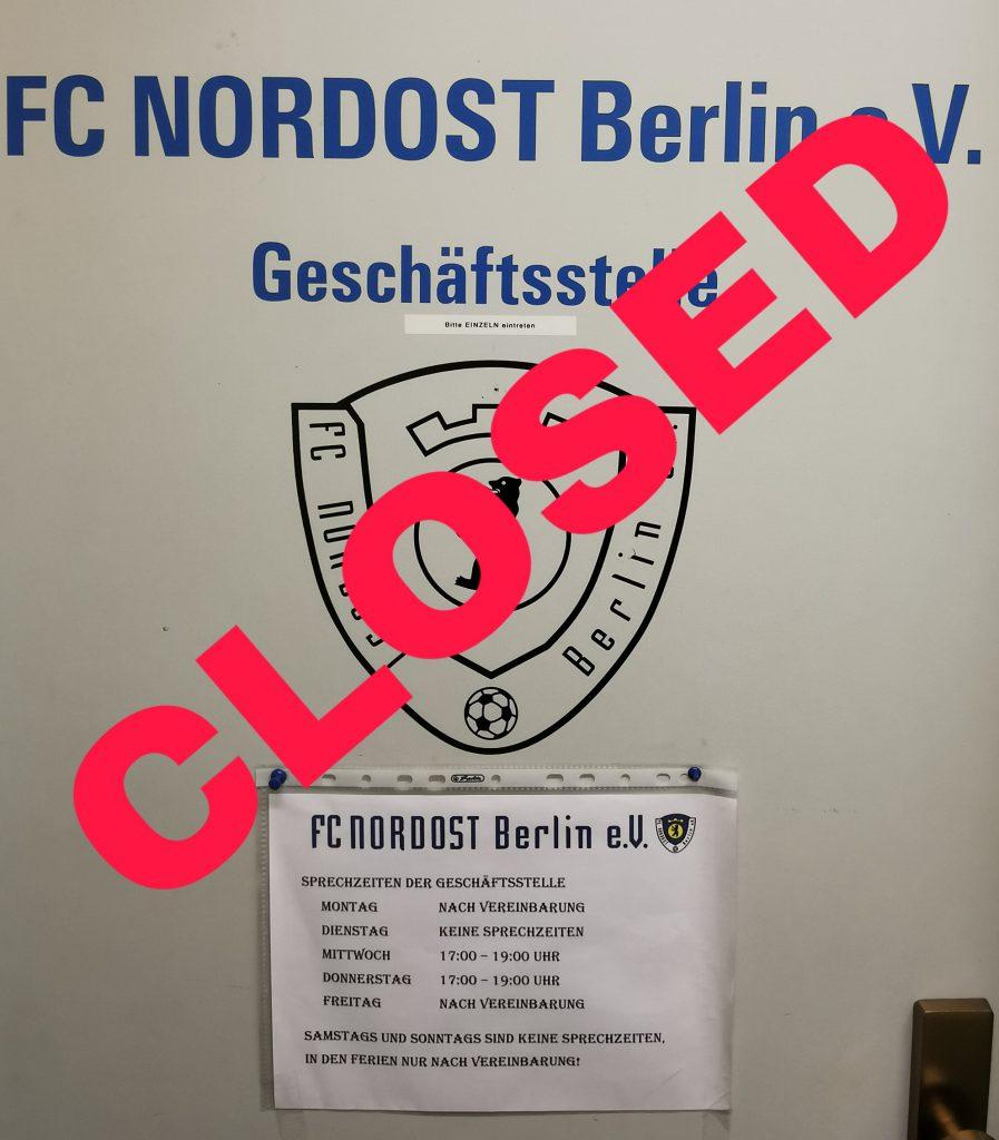Geschäftsstelle geschlossen