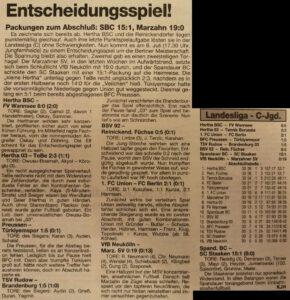 Marzahner SV 199394 Letzter Spieltag der 1. C