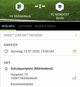 Ansetzung SV Mühlenbeck - 1. Herren