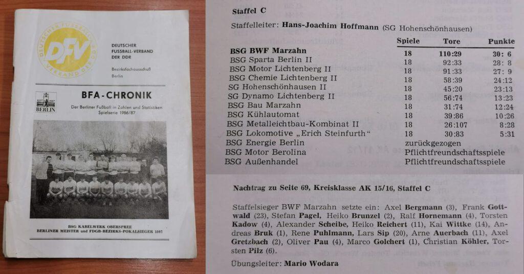 BWF Marzahn 1986/87 Jugend BFA-Chronik