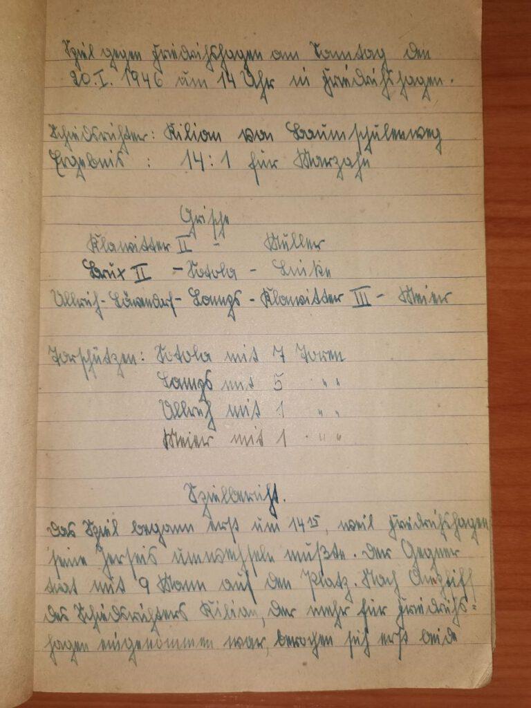 SG Marazhn 20.01.1946 Spielbericht Friedrichshagen